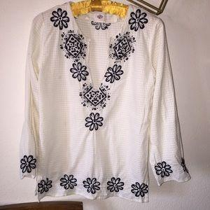 Antik Batik Anthro Embroidered Beaded Tunic Top S